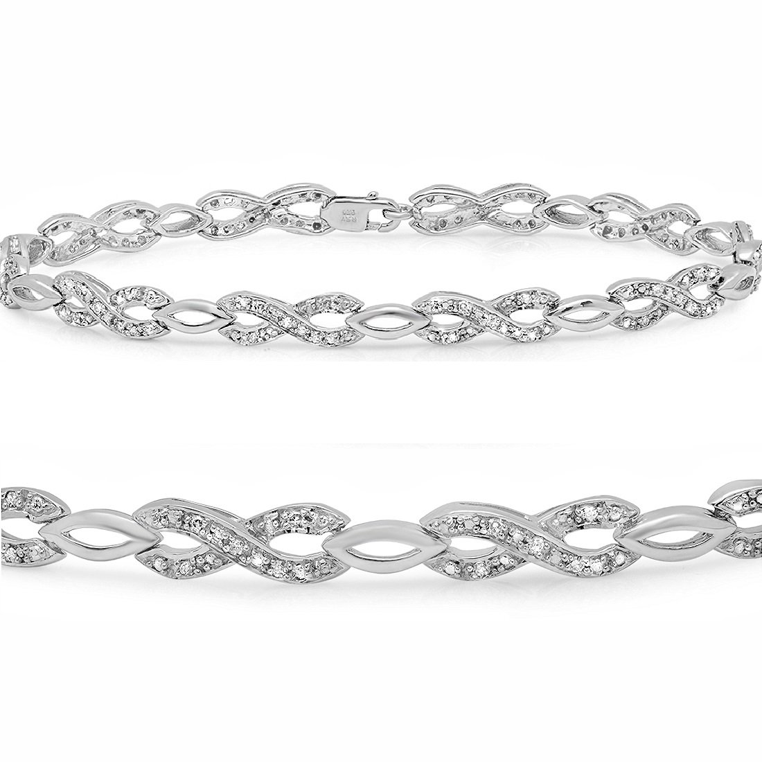 AGS Certified 1/4ct Infinity Diamond Tennis Bracelet in Sterling Silver 7 inch by Amanda Rose Collection
