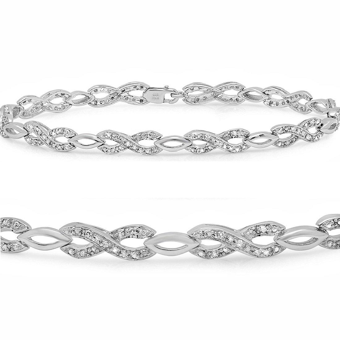 AGS Certified 1/4ct Infinity Diamond Tennis Bracelet in Sterling Silver 7 inch