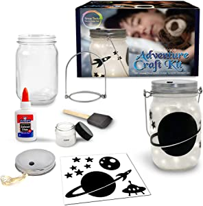Outer Space Adventure Nightlight Craft Kit - DIY Make Your Own Outer Space Lantern Jar - Craft Project for Kids- Great Gift