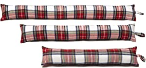 Classic Home Store White & Red Tartan Check Cotton Draught Excluder French Patio Door Long Draft Stopper (3 ft)