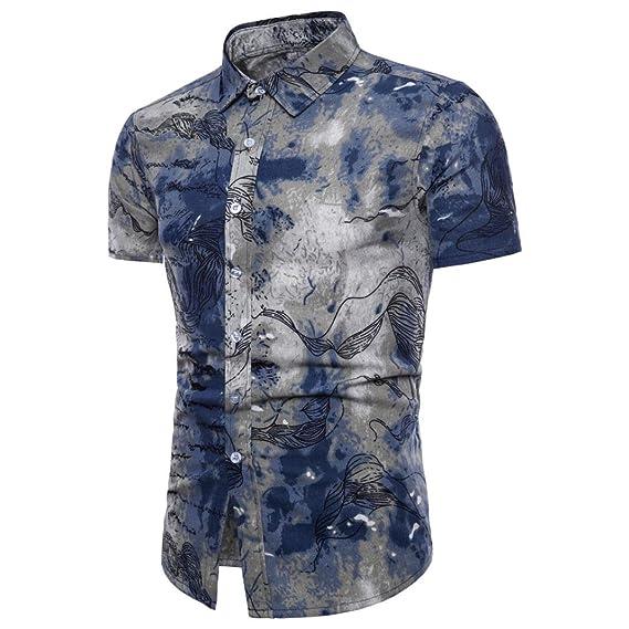 Camisas Hombre LHWY con Solapa Floral Corto Basicas Camisas Estampado De De Slim Camisas Manga X6axUwOWq5