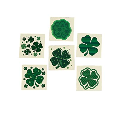 Fun Express - Shamrock Patterned Tattoos for St. Patrick's Day - Apparel Accessories - Temporary Tattoos - Regular Tattoos - St. Patrick's Day - 72 Pieces: Toys & Games