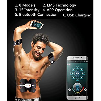 Electronic Muscle Stimulation, Muscle Stimulator Physical Fitness Training Muscle Toner Machine Weight Loss Smart Wearable Home Training abs belt for Men Women Bluetooth connetion APP Operation Weight