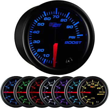 Includes Mechanical Hose /& T-Fitting GlowShift White 7 Color 30 PSI Turbo Boost//Vacuum Gauge Kit Clear Lens For Car /& Truck 2-1//16 52mm White Dial