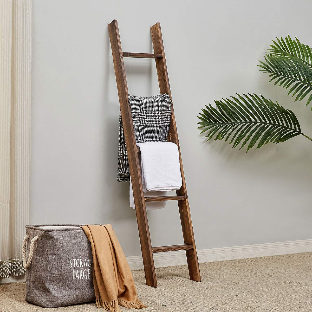 RHF Rustic Farmhouse Blanket Ladders,Wall Leaning Decorative Blanket Ladder,Rustic Wood 5ft Blanket Ladders, Blanket Quilt Rack Stand for Living Room, Ladder Decor,No Assembly Required 5-Feet, Brown by Rose Home Fashion
