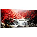 Youkiswall Art Red Waterfall 40-Inch-by-20-Inch Framed Canvas Print