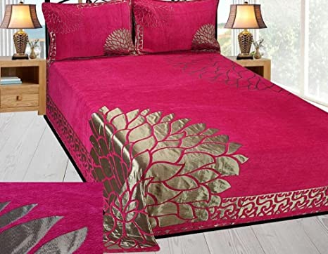ea848a03c1 Akshya 250 TC Velvet Premium Chenille Double Bedsheet with 2 Pillow Cover - King  Size, Pink: Amazon.in: Home & Kitchen