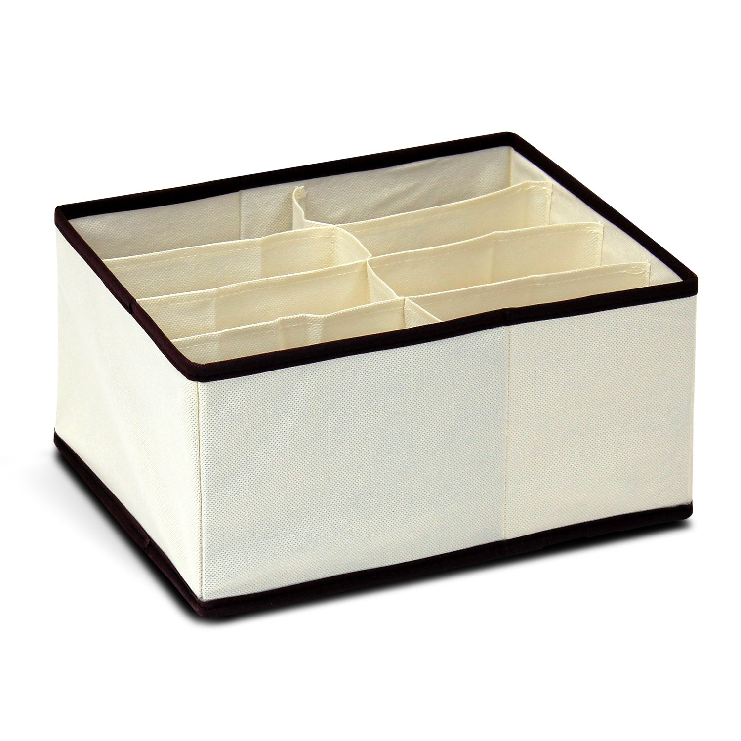 Furinno 12285IV Non-Woven Fabric Storage Organizer, 3 by 5-Inch, Ivory with Brown Trim