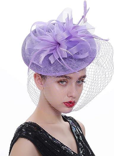 Women Dress Kentucky Derby Fascinators Small Hat Cocktail Tea Party Weddings Headwear Feather Sinamay Accessories Hair Clip