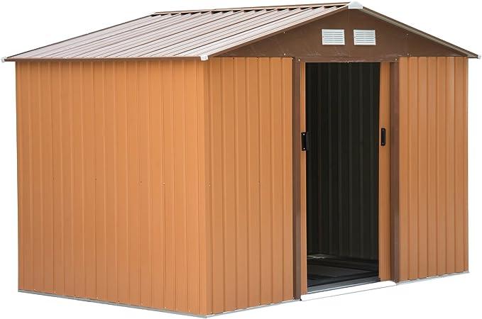 Outsunny Caseta de Jardín Tipo Cobertizo Metálico para Almacenamiento de Herramientas 277x191x192cm Ocre Oscuro: Amazon.es: Jardín