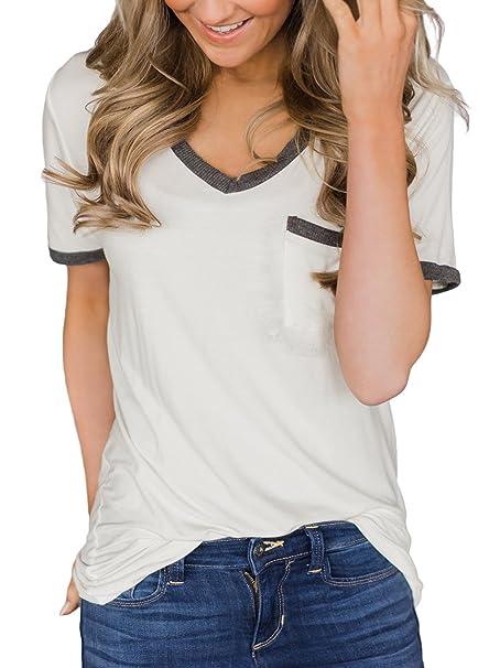 Amazon.com: hotapei blusa casual de verano gris, cuello en V ...
