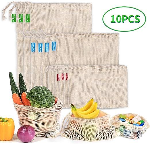 10pcs Bolsa Reutilizable Algodon de Vegetales,Bolsas Reutilizables ...