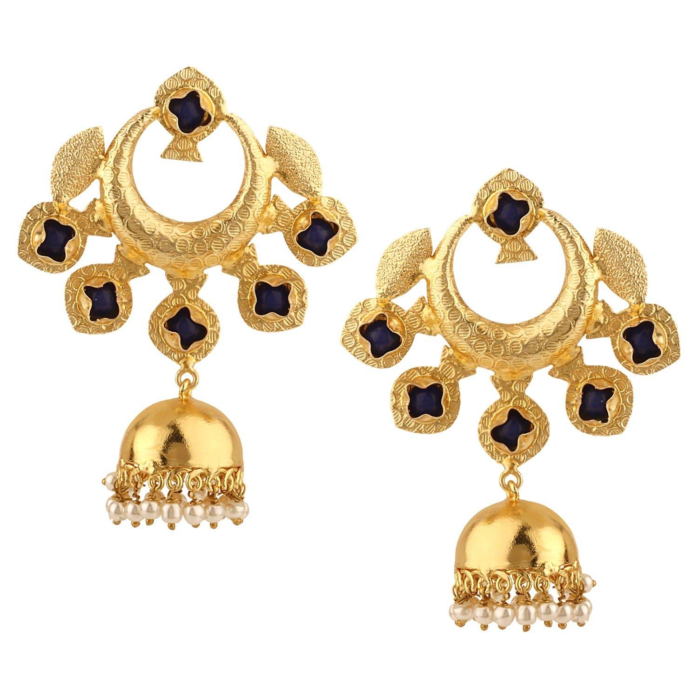 Efulgenz Indian Bollywood 14K Gold Plated Crystal Kundan Pearl Wedding Jhumka Jhumki Chandbali Earrings Jewelry Set