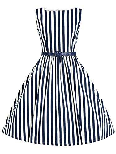 MisShow Women Striped 50s 60s Rockabilly Prom Party Gown Pinup Swing Dress