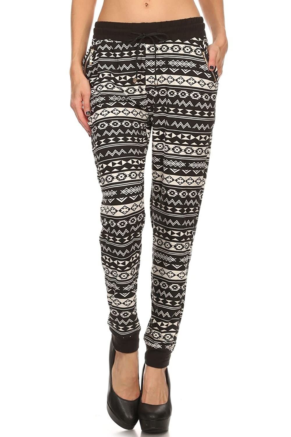 LA12ST Women's Black Aztec Shapes Printed Drawstring Onesize JoggerPants