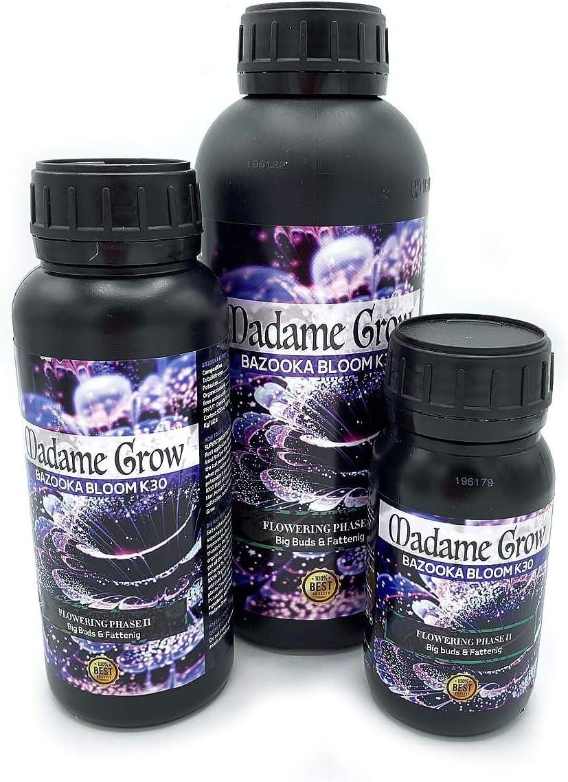 MADAME GROW / Abono Floración/Marihuana/Revienta Cogollos/Cannabis/Bazooka Bloom K30 / Cogollos explosivos/Más Resina/Superconcentrado de Potasio K30 / Abono 100% Orgánico (250 ml)