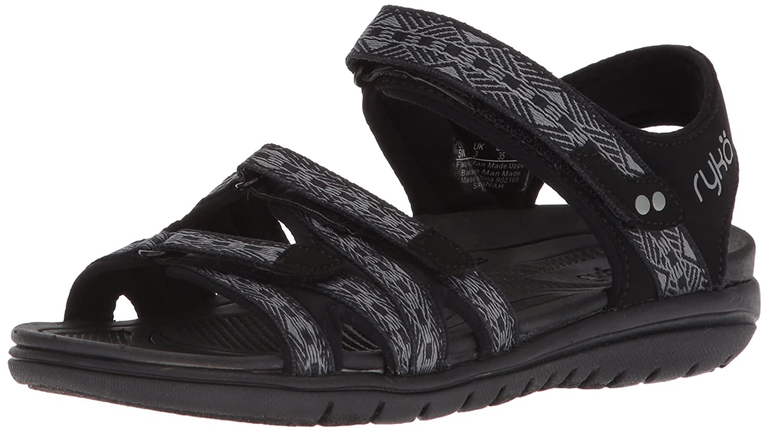 Ryka Women's Savannah Sandal B0757CZGZ6 6 W US|Black/Frost Grey