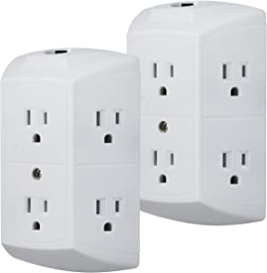 GE 6-Outlet Wall Tap, 2 Pack, Reset Button, Circuit Breaker, Power Extender, Adapter Spaced, 3 Prong Plug, Grounded, UL Listed, White, 46854