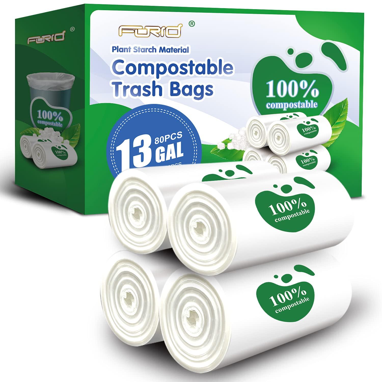 FORID Medium Compostable Trash Bags – 13 Gallon Tall Kitchen Garbage Bags