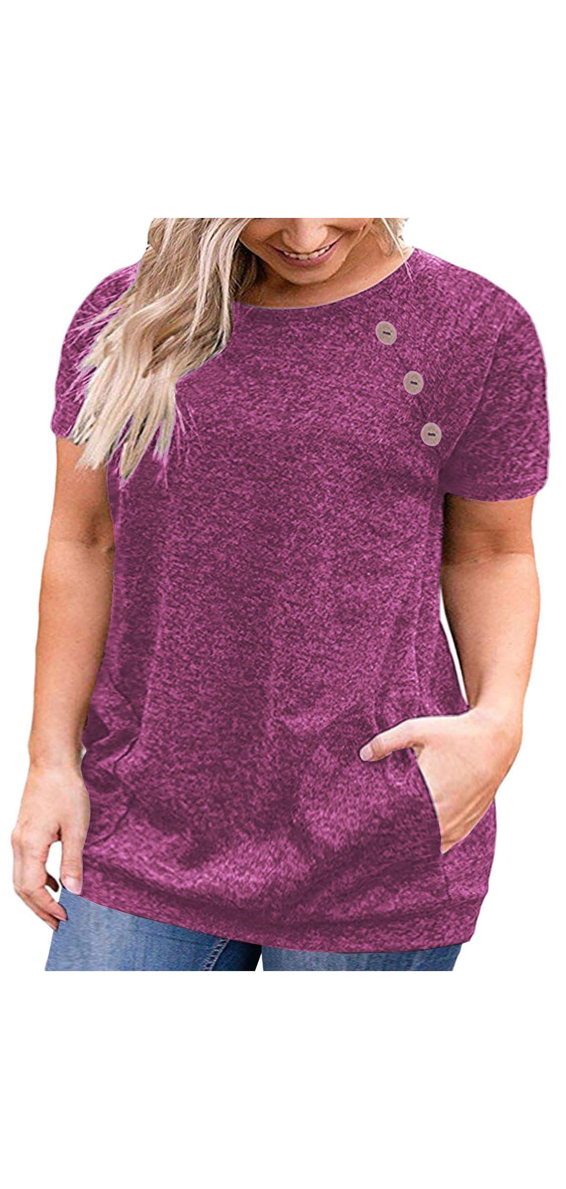 Women's Plus Size Short Sleeve Buttons Blouse Loose T
