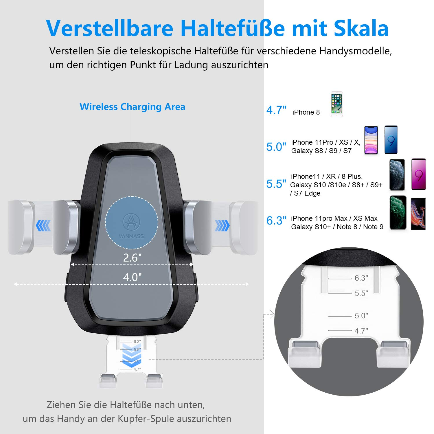 VANMASS Wireless Car Charger S6 Edge+ Qi Wireless Charger Car Mount with 360/°Air Vent Holder Compatible with Phone 8//8 Plus//X//Samsung Galaxy S8 S8+ Note 5 S7