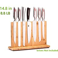 Magnetic Knife Block(Natural Bamboo),Knife Holder,Knife Organizer Block,Knife Dock,Cutlery Display Stand and Storage Rack,Kitchen Scissor Holder,Large Capacity,Double Side Strongly Magnetic