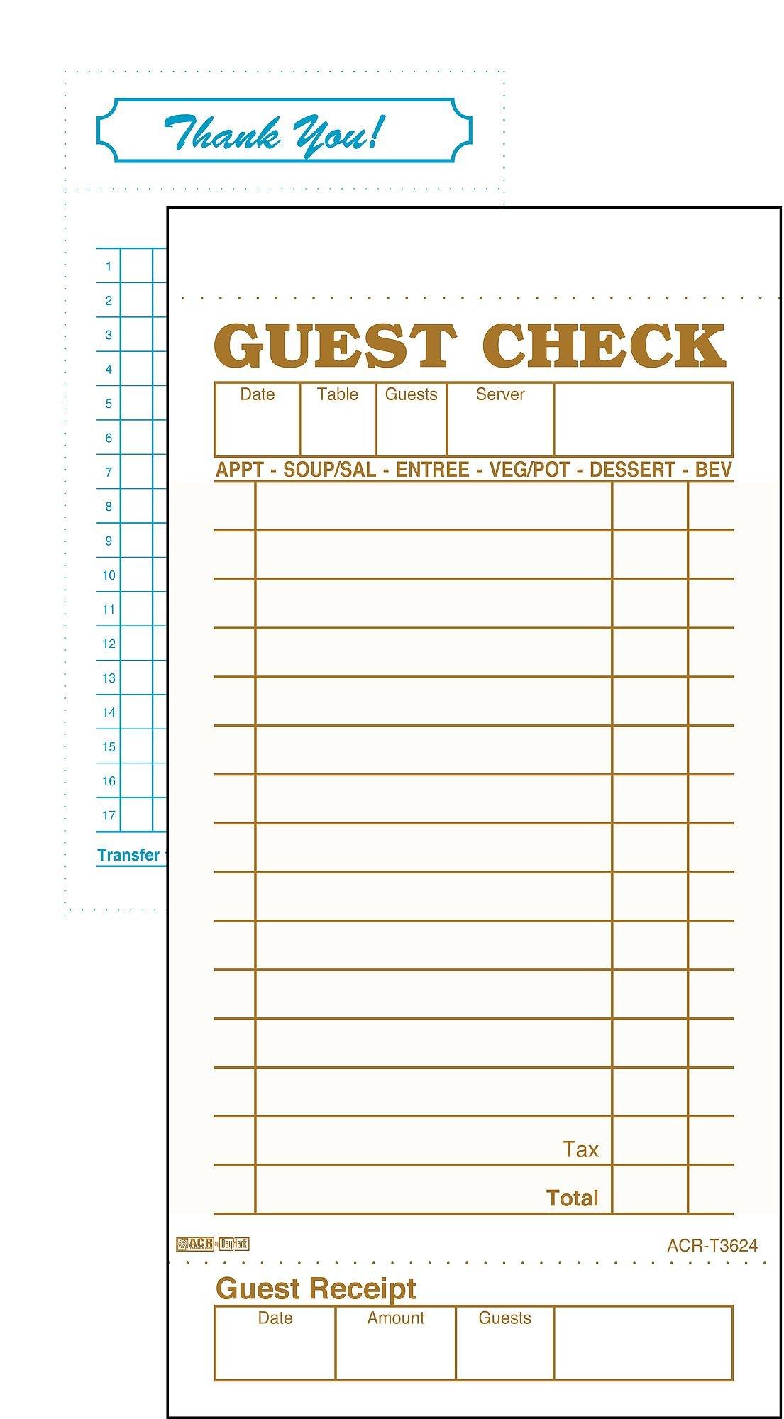 DayMark ACR-T3624 Guest Check Bond, 1 Part, Tan, 6-3/4'' Length x 3-13/32'' Width (Case of 50 Packs, 100 Sheets per Pad)