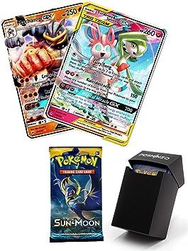 2 Cartas Pokemon GX con 10 Tarjetas de Refuerzo y Caja de Tarjetas ...