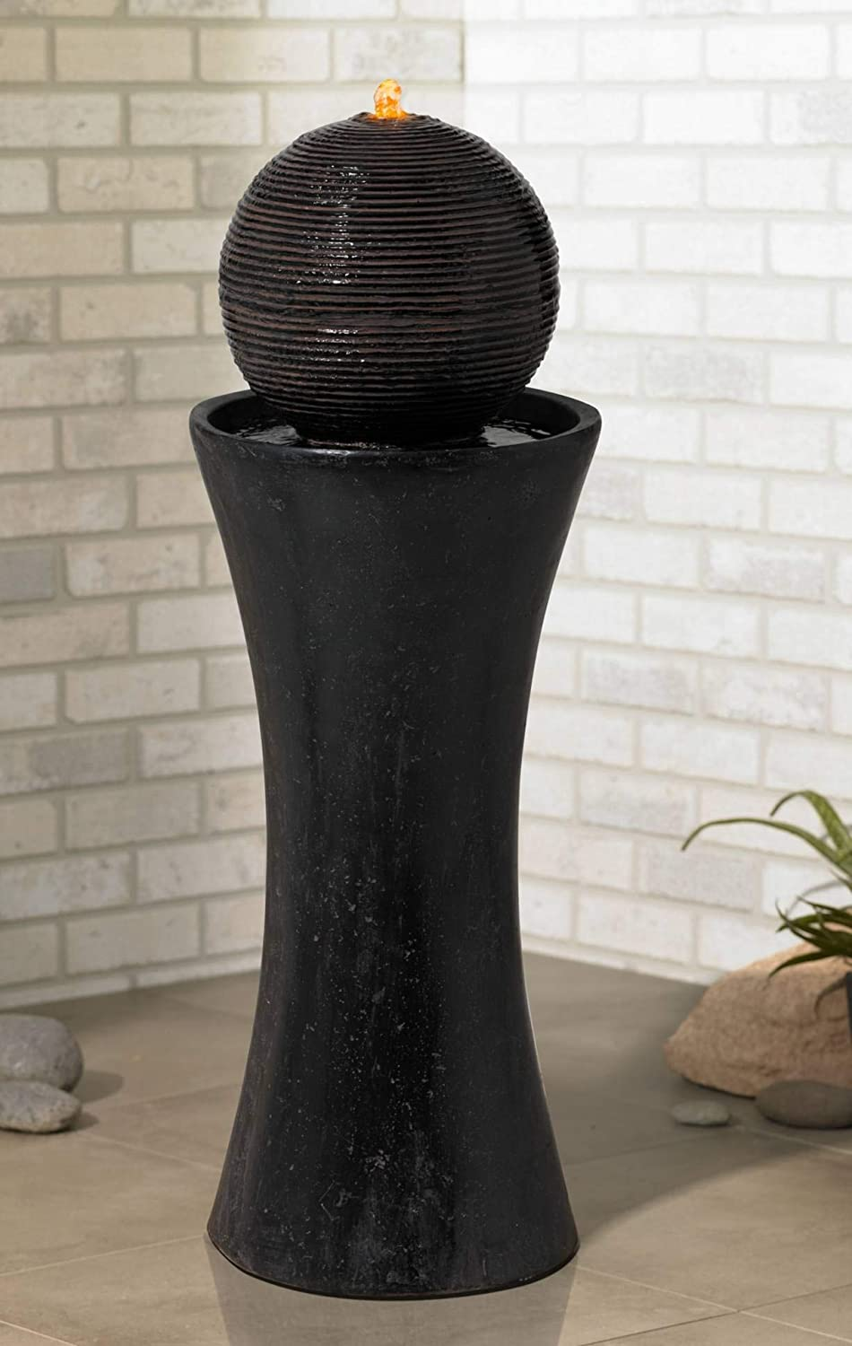 "John Timberland Dark Sphere Modern Zen Outdoor Floor Water Fountain with Light LED 30"" High Bubbler Pillar for Yard Garden Patio Deck Home"