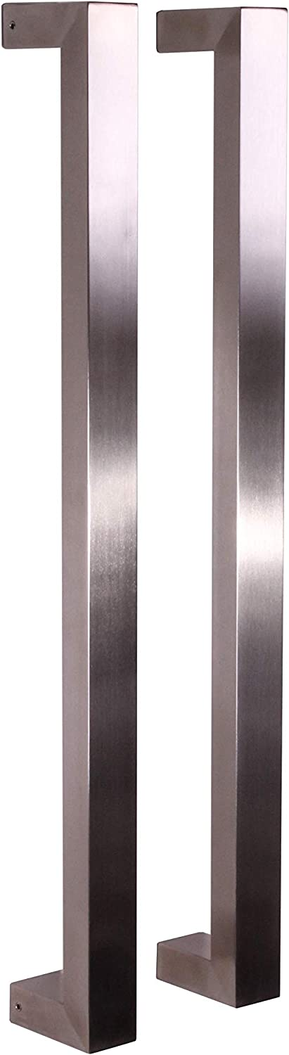 Pull Push 36 inches Handles for Entrance Entry Front Door, Interior and Exterior, Satin Finish, Storefront Door, Commercial Entry Gate and Office Door, Modern and Decent Design Rectangle Style.