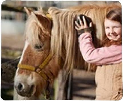 alfombrilla de ratón niña, cepillado, su melena del caballo de ...
