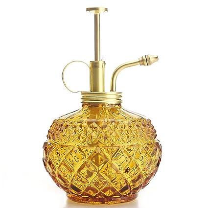 Purism Style Plant Mister- Amber Color Glass Bottle & Brass Sprayer (Matt  Gold)