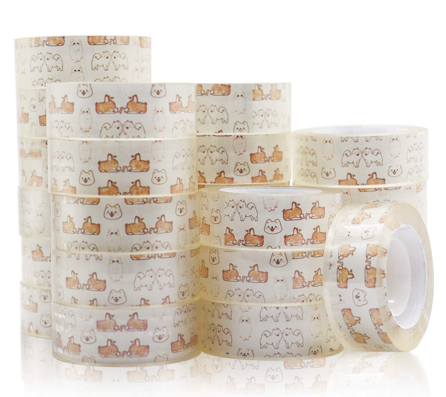 24 Pack Transparent Crystal Clear Tape, Refill Rolls for Office, School, and Home, 1inch core 3/4inch x 1000inch, BOMEI PACK