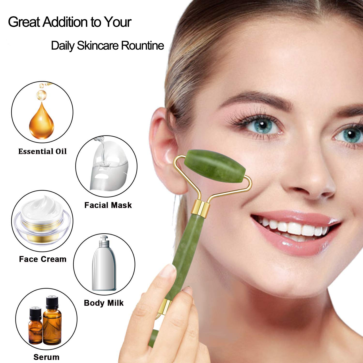 Jade Roller & Gua Sha Scraper for Face Massage - 3 in 1 Facial Jade Stone Set for Anti-aging, Slimming & Firming - 100% Real Natural Face Eye Neck Roller - Anti Wrinkle Facial Skin Massager
