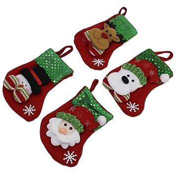 ocrcute decoración calcetines Medias de Navidad bolsas de dulces calcetines regalo Candy bolsa para árbol de Navidad colgar decoración: Amazon.es: ...
