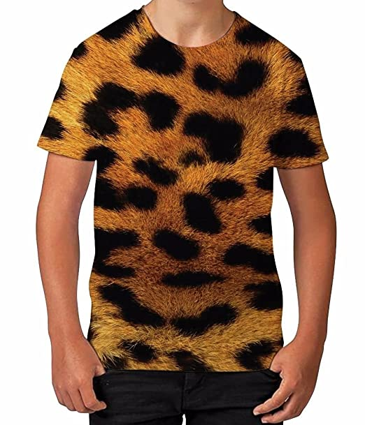 .com: kids graphic t shirt boys top leopard animal print youth ...