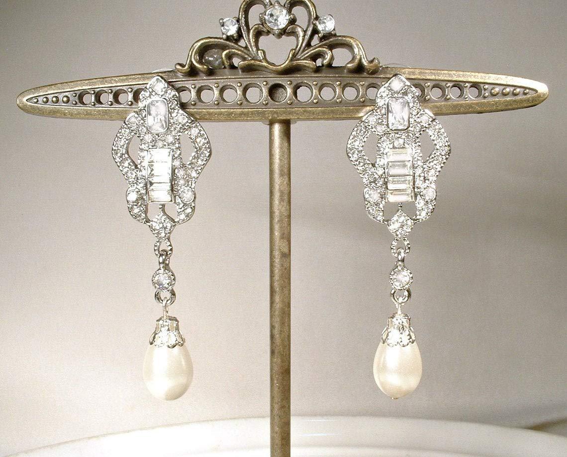 Couture Pearl Crystal Earrings Long Pearl Crystal Earrings Clear Rhinestone Chandelier Earrings Vintage Rhinestone Pearl Wedding Earrings