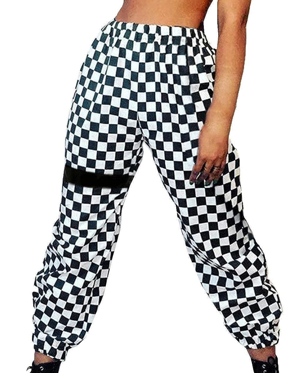 Pantaloni Donna Tempo Libero Pantaloni Primaverile Autunno Eleganti Moda Giovane Ragazze Accogliente Tendenza Streetwear Swag Pants Vita Elastica Damigella Lunga Cucitura Quadretti