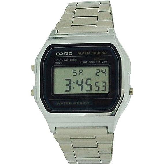 Casio A158WA-1DF - Reloj para Hombres, Correa de Metal Color Plateado: Amazon.es: Relojes