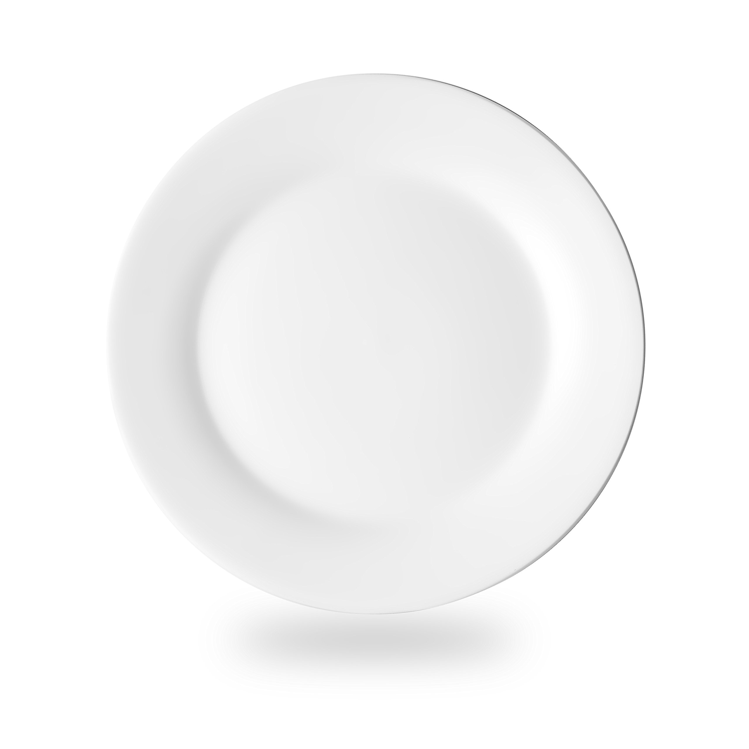 Nucookery 8 Inch White Dinner Plates | Porcelain Dishes | Medium, Microwave-Safe, Dishwasher-Safe 6pc Ceramic Dinnerware Set (8 Inch)