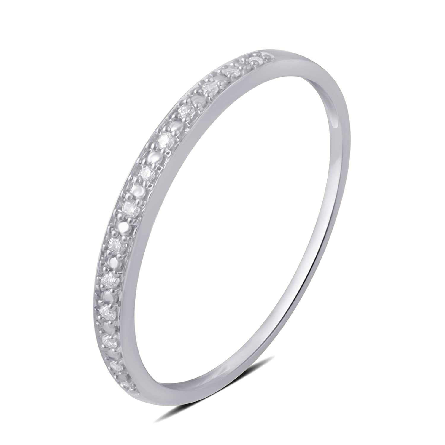 0.05 CTTW Round Diamond Wedding Band in 10K White Gold Kiran Jewels Inc
