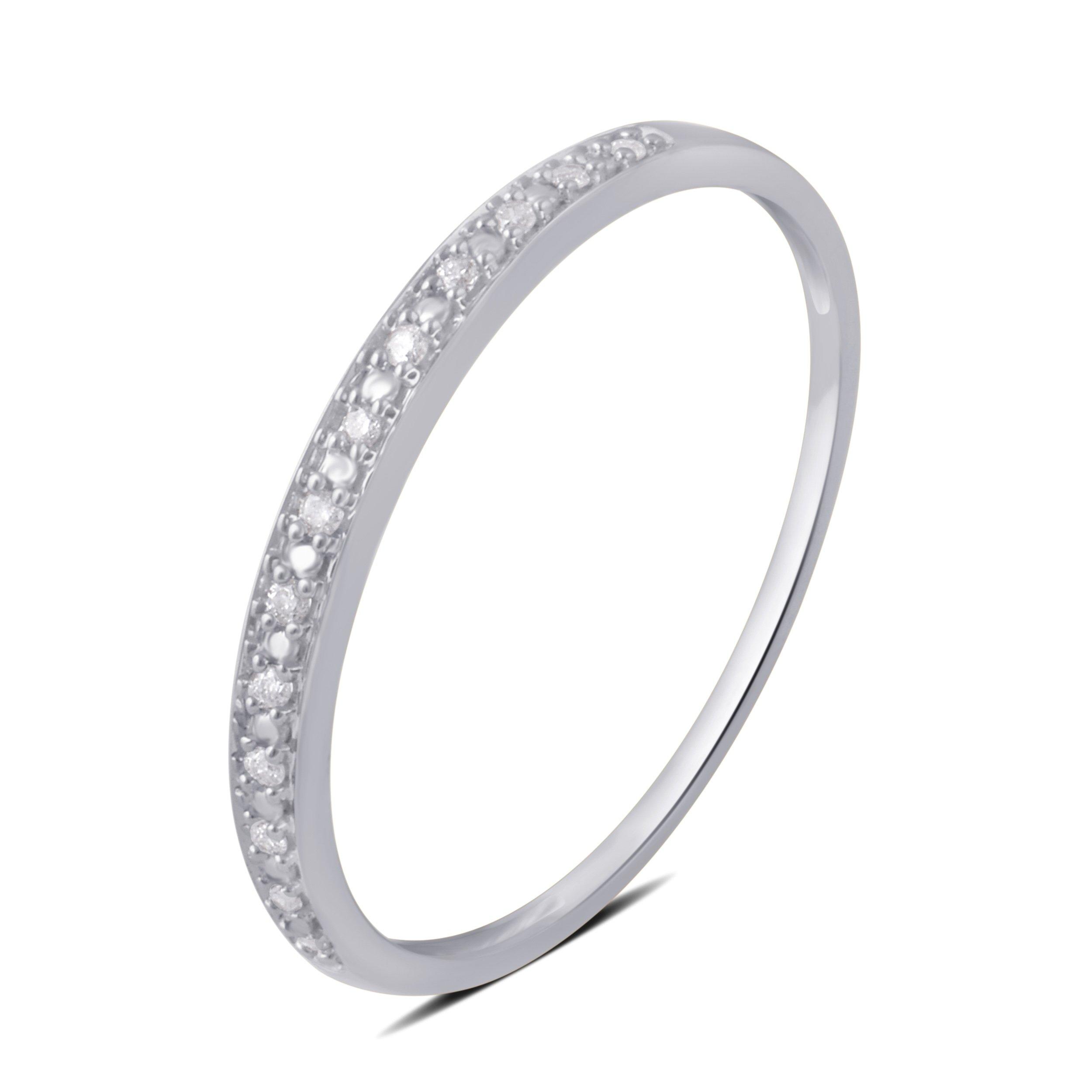 0.05 CTTW Round Diamond Wedding Band in 10K White Gold