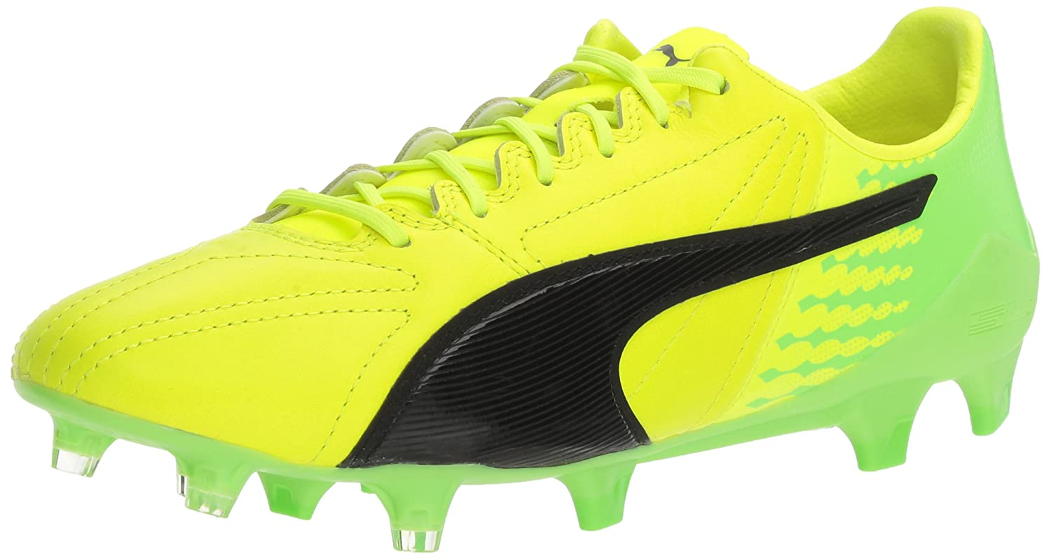 PUMA Men's Evospeed 17.SL Lth FG Soccer Schuhe, Safety Yellow schwarz Grün Gecko, 9 M US