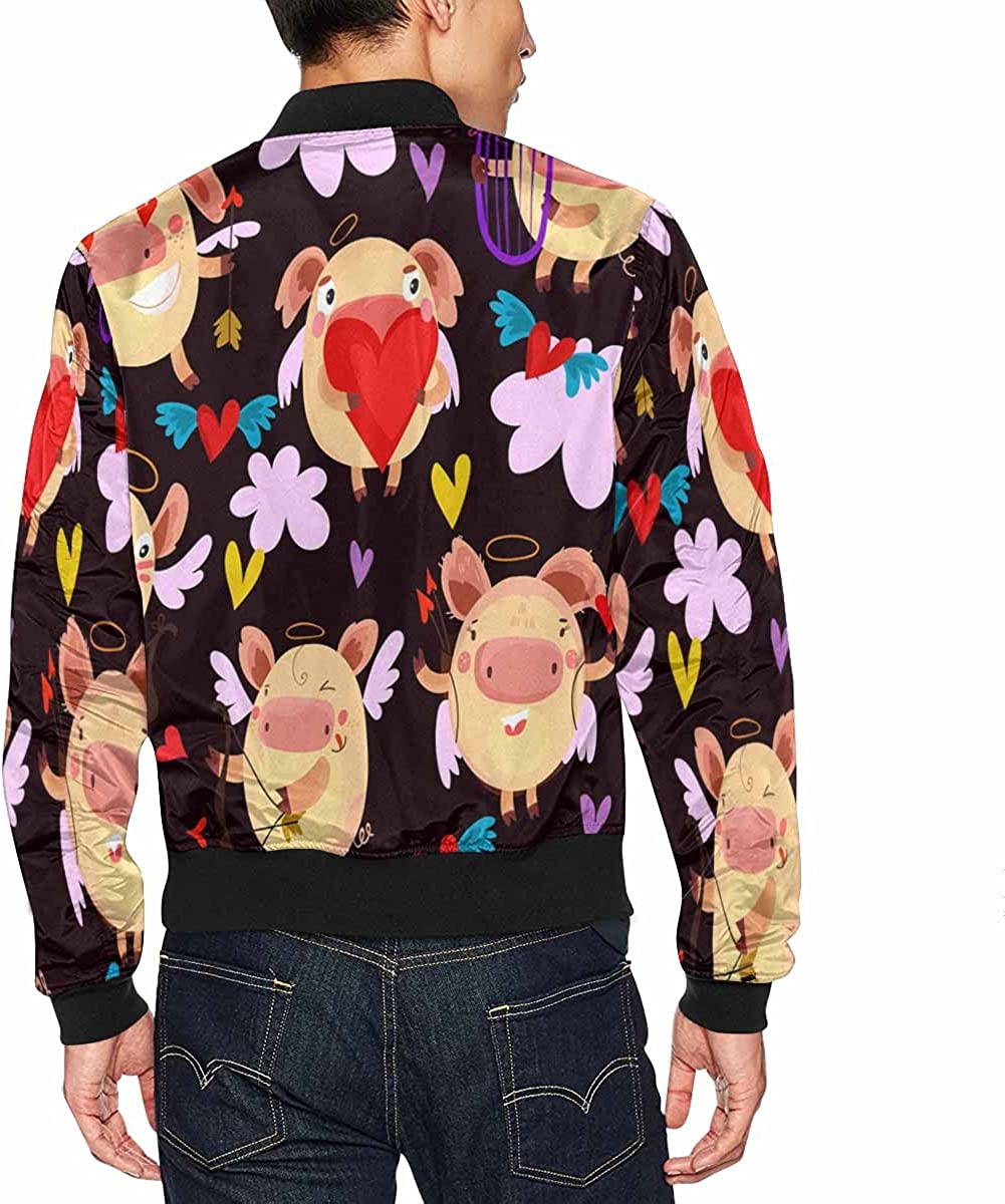 INTERESTPRINT Womens Valentine Day with Cupids Hearts and Arrows Jacket Coat