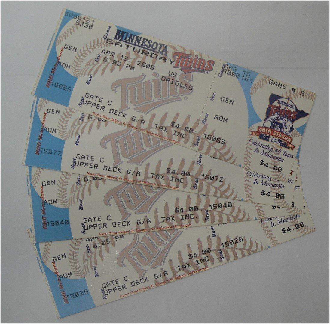 Cal Ripken 3000th Hit Ticket April 15, 2000. Baltimore Orioles V Twins Unused