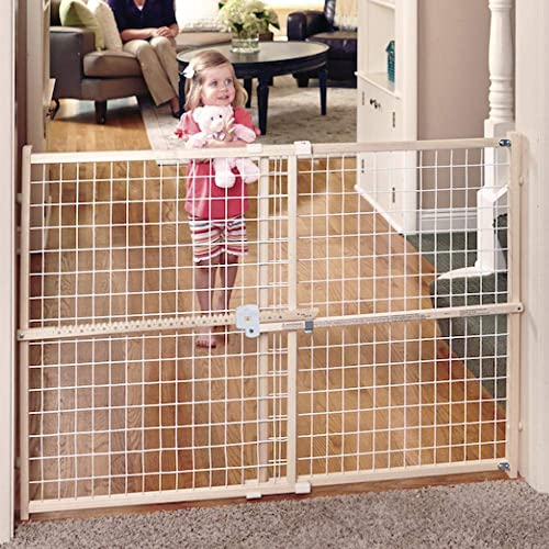 Toddleroo by North States 50 wide Quick Fit Wire Mesh Baby Gate hassle free ratchet system for quick custom fit. Pressure mount. Fits 29.5 – 50 wide 32 tall, Sustainable Hardwood