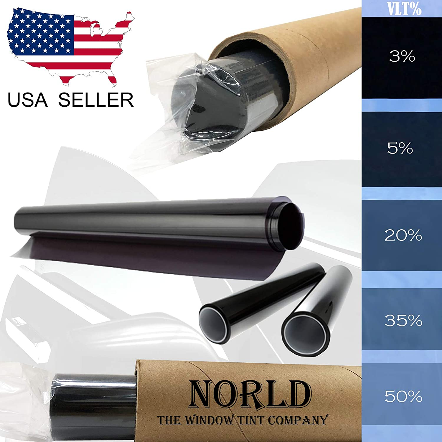 Norld 20/% 20 in x 20 Ft DIY Professional Adhesive Window Tint Film Uncut Roll