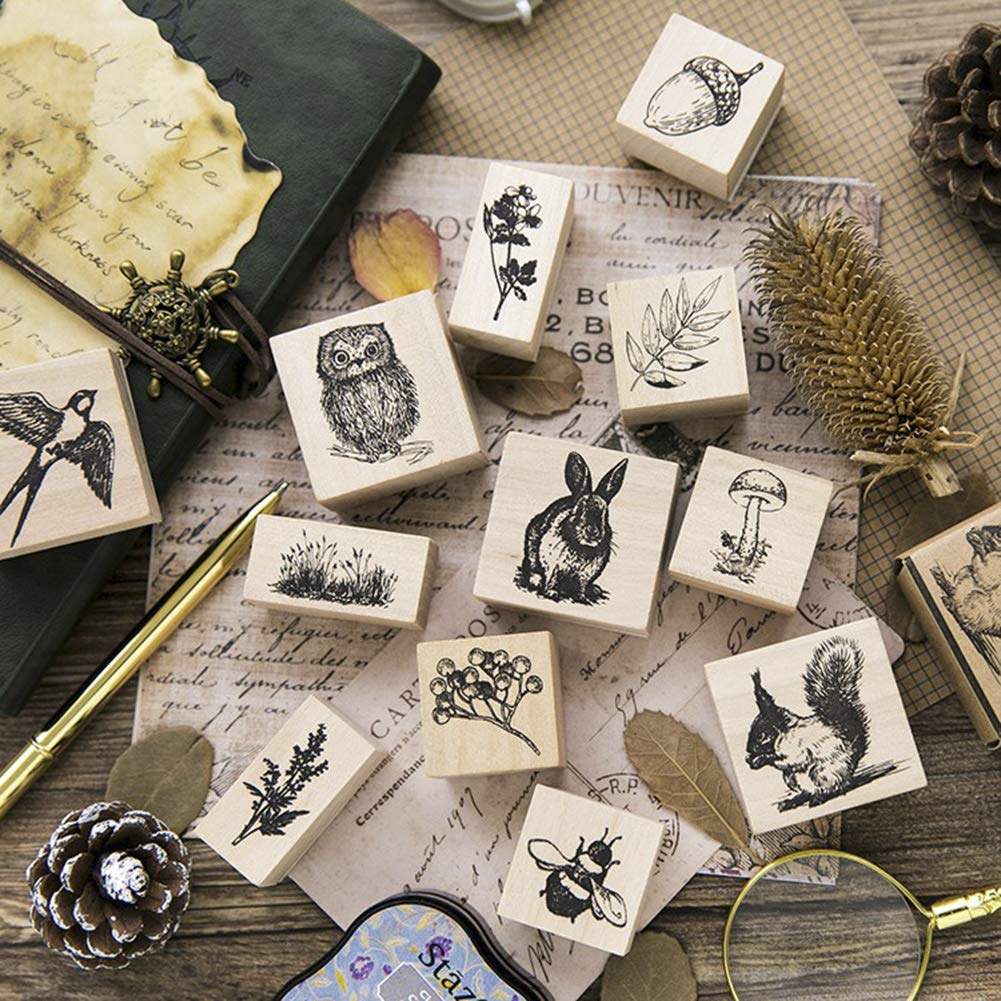 12pcs Wooden Rubber Stamps Animals and Plants Patterns Stamps Set for DIY Craft Card Scrapbooking Supplies by Co-link (Image #4)