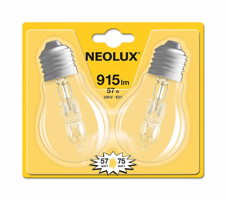 Neolux 4052899168084 Ampoule Halogè ne Standard Verre 57 W E27 Transparent Lot de 2 LEDVANCE