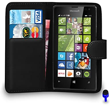 differently 06f59 c4063 Microsoft Lumia 435 - Premium Leather BLACK Wallet Flip Case Cover Pouch  BLUE Dust Stopper, (WALLET BLACK)
